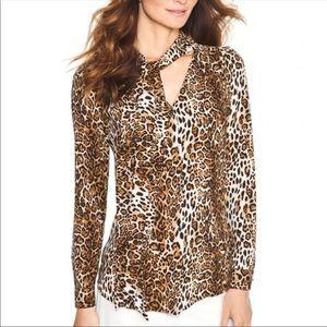 WHBM Leopard Print Tie Button Down Blouse Top 2